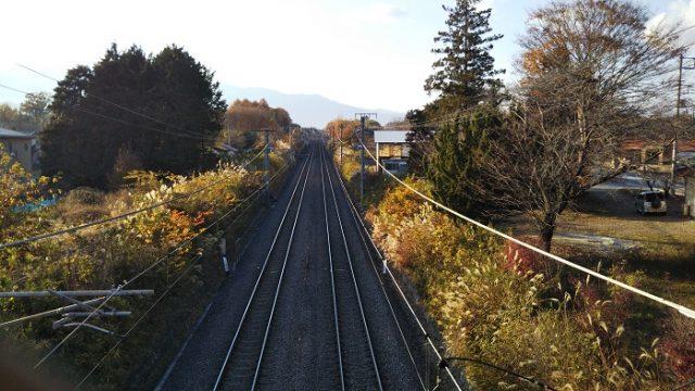 歩道橋からのJR中央線下り方面を撮影した画像