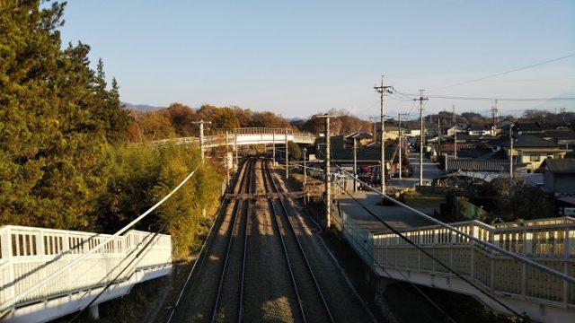 歩道橋からのJR中央線上り方面を撮影した画像