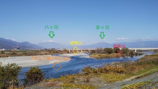 釜無川と笛吹川の合流地点を撮影した画像