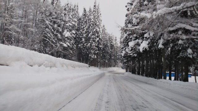 栂池高原スキー場の手前を撮影した写真