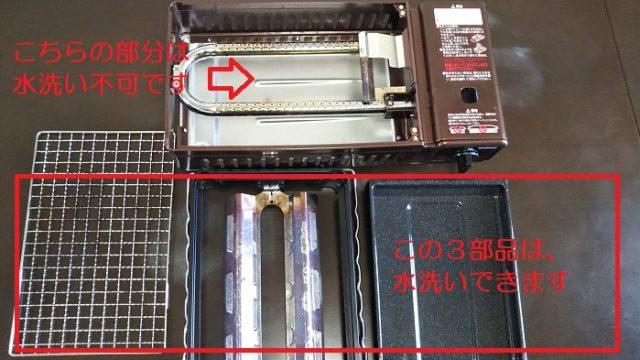 「炉ばた焼機炙りや」で水洗いができる部品を説明した写真