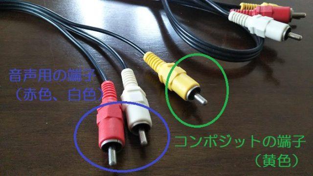 コンポジット端子と音声用のオーディオ端子を撮影した写真