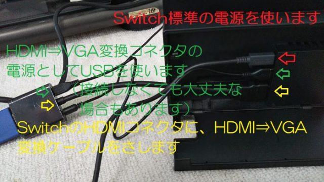 VGA変換コネクタとswitchを接続して撮影した写真
