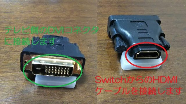 HDMI⇔DVI-D変換アダプターを撮影した写真