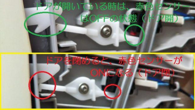 ドア開とドア閉のセンサーの動きを撮影した写真